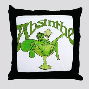 Absinthe Green Fairy In Glass Throw Pillow