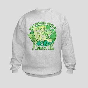 Vintage Wicked Girl Absinthe Kids Sweatshirt