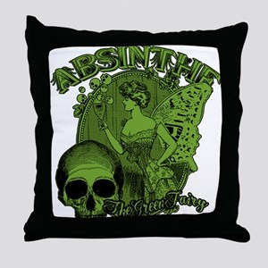 Absinthe Green Fairy Lady Collage Throw Pillow