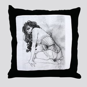 Sultry Woman In Corset Throw Pillow