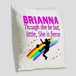 SOCCER GIRL Burlap Throw Pillow