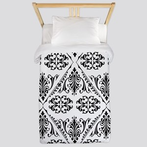 Black & White Damask #22 Twin Duvet