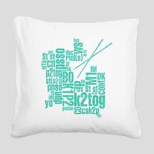 Knitting Abbreviation Cloud Square Canvas Pillow