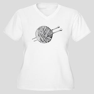 Minimalistic Knit Women's Plus Size V-Neck T-Shirt