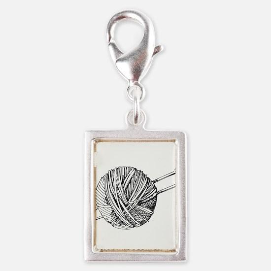 Minimalistic Knit Silver Portrait Charm