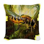 bee insect Woven Throw Pillow
