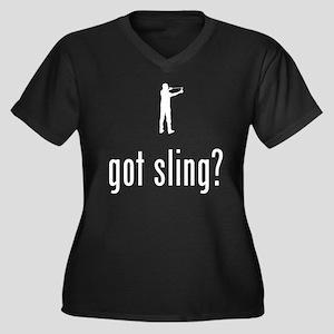 Sling Shot Women's Plus Size V-Neck Dark T-Shirt