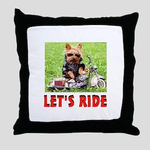 YORKIE BIKER Throw Pillow