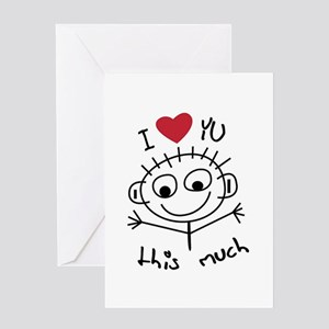 Expressions and sayings greeting cards cafepress i love you this much greeting card m4hsunfo