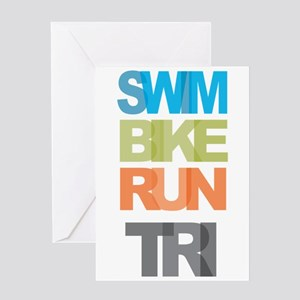 SWIM BIKE RUN TRI Greeting Card