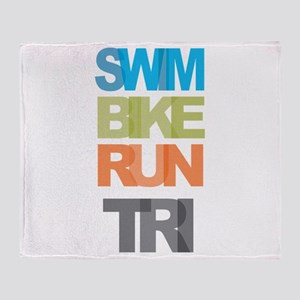 SWIM BIKE RUN TRI Throw Blanket