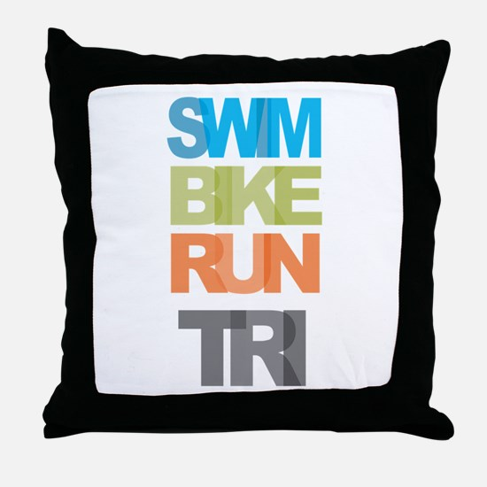 SWIM BIKE RUN TRI Throw Pillow