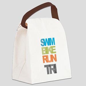 SWIM BIKE RUN TRI Canvas Lunch Bag