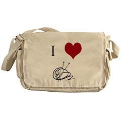 I Heart Yarn Messenger Bag