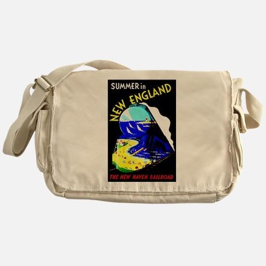 New England Train Travel Messenger Bag