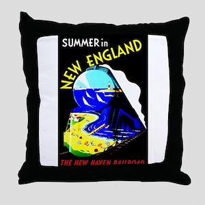 New England Train Travel Throw Pillow