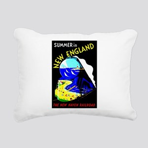 New England Train Travel Rectangular Canvas Pillow