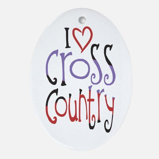 I love (heart) cross country Ornament (Oval)