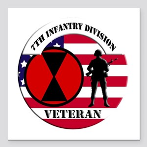 """7th Infantry Division Square Car Magnet 3"""" x 3"""""""