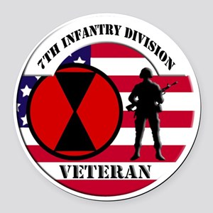 7th Infantry Division Round Car Magnet