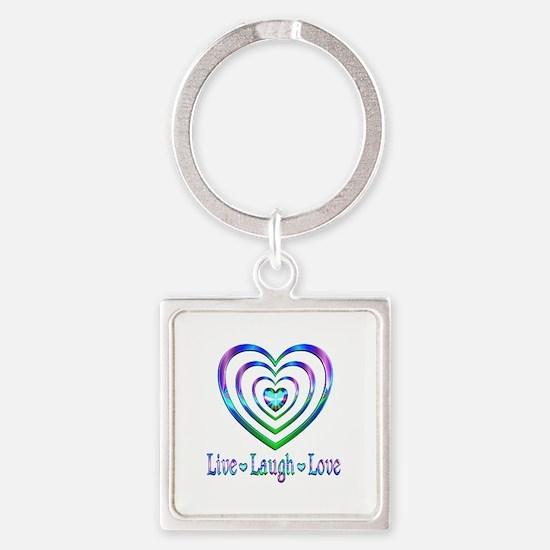 Live Laugh Love Hearts Square Keychain