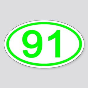Number 91 Oval Oval Sticker