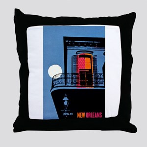 Vintage New Orleans Travel Throw Pillow