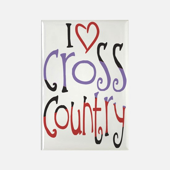 I love (heart) cross country Rectangle Magnet