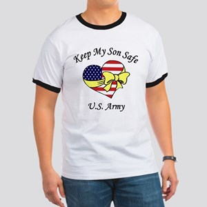 US Army Mom & Dad Keep My Son Safe Ringer T