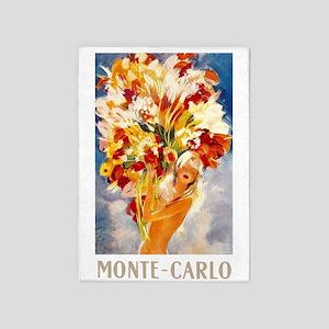 Vintage Monte Carlo Travel 5'x7'Area Rug