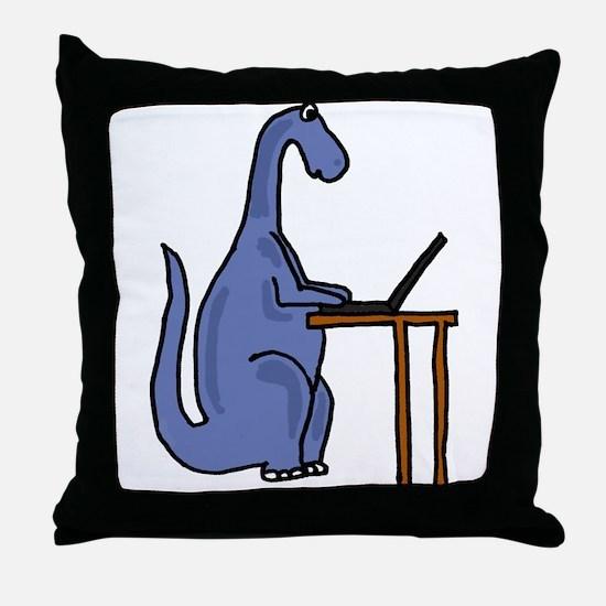 Dinosaur Using Laptop Throw Pillow