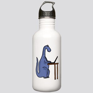 Dinosaur Using Laptop Water Bottle