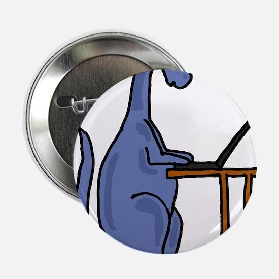 "Dinosaur Using Laptop 2.25"" Button"