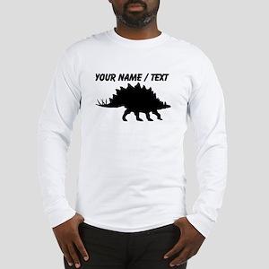Custom Stegosaurus Silhouette Long Sleeve T-Shirt