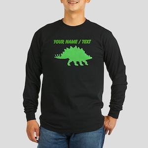 Custom Green Stegosaurus Silhouette Long Sleeve T-