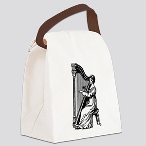 Woman Playing Harp Canvas Lunch Bag