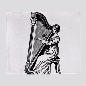 Woman Playing Harp Throw Blanket