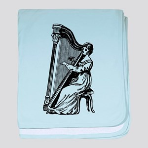 Woman Playing Harp baby blanket
