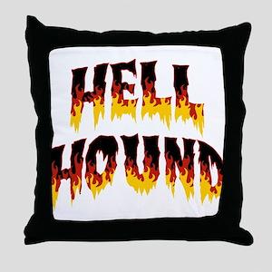 Retro Hell Hound Throw Pillow