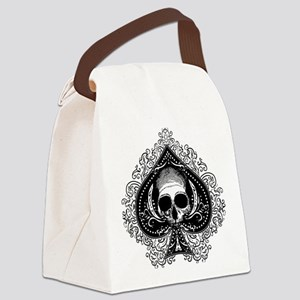 Skull Ace Of Spades Canvas Lunch Bag