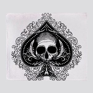 Skull Ace Of Spades Throw Blanket