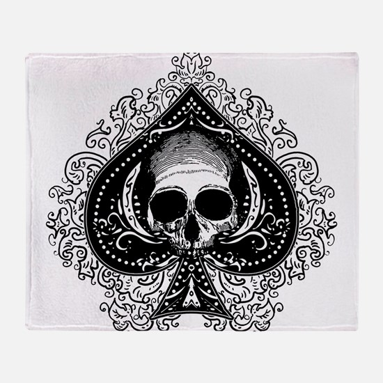 Skull Ace Of Spades Throw Blanket