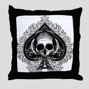 Skull Ace Of Spades Throw Pillow