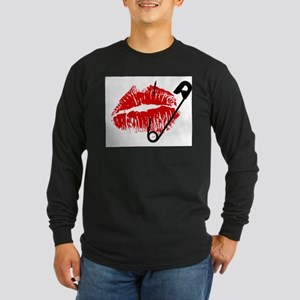 Safety Pinned Kiss Long Sleeve Dark T-Shirt