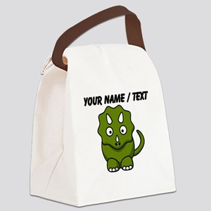 Custom Cartoon Triceratops Canvas Lunch Bag