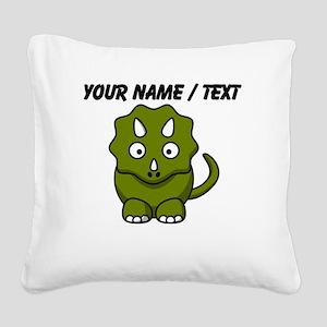 Custom Cartoon Triceratops Square Canvas Pillow