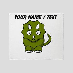 Custom Cartoon Triceratops Throw Blanket