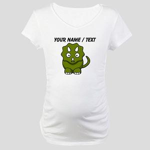 Custom Cartoon Triceratops Maternity T-Shirt