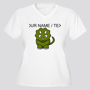 Custom Cartoon Triceratops Plus Size T-Shirt
