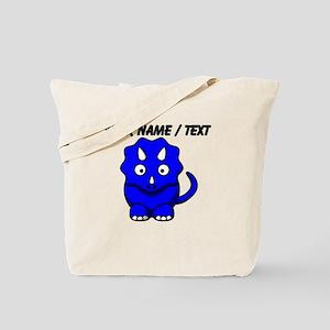 Custom Blue Cartoon Triceratops Tote Bag